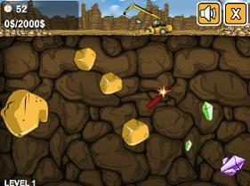 recoger oro con una excavadora